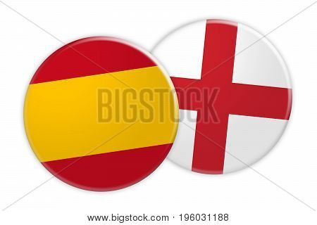 News Concept: Spain Flag Button On England Flag Button 3d illustration on white background