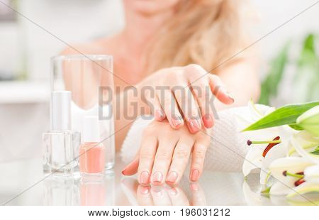 Manicure Concept. Beautiful Woman's Hands With Perfect Manicure At  Beauty Salon.