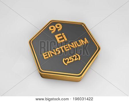 einstenium - Ei - chemical element periodic table hexagonal shape 3d render