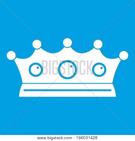 Jewelry crown icon white isolated on blue background vector illustration