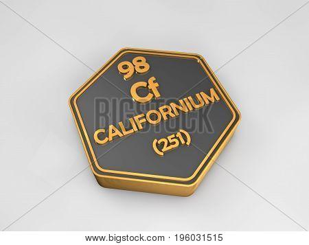 californium - Cf - chemical element periodic table hexagonal shape 3d render