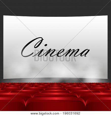 Rows of red cinema or theater seats in front of white blank screen. Red chairs or chairs in the cinema. In the text of a movie screen below the smoke comes vector illustration