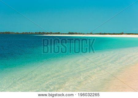 Sandy Beach Playa Paradise Of The Island Of Cayo Largo, Cuba. Copy Space For Text.