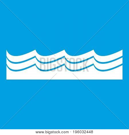 Water icon white isolated on blue background vector illustration