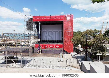 Odessa, Ukraine - July 15, 2017: Summer Outdoor Cinema For Showing Movies In Odessa International Fi