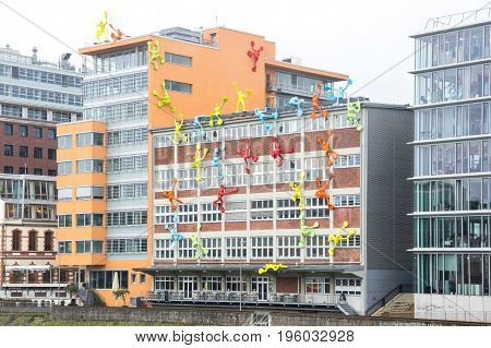 DUSSELDORF, GERMANY - FEBRUARY 22, 2016: Media harbor of Dusseldorf the capital city of the German state of North Rhine-Westphalia and the seventh most populous city in Germany