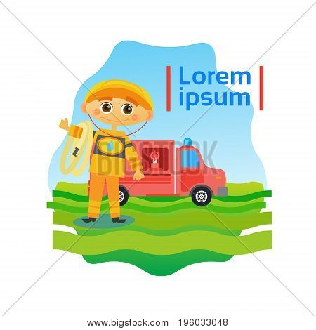 Small Boy Fireman Kid Fire Fighter Flat Vector Illustration