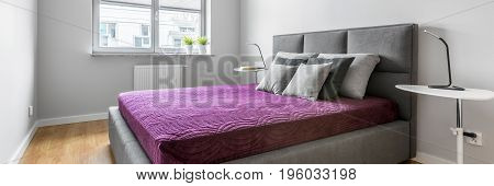 Grey Bedroom With Double Bed