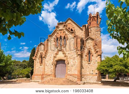 Сhurch Ermita Mare de Deu de la Riera in Les Borges del Camp, Tarragona, Catalunya, Spain. Copy space for text poster