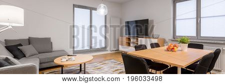 Living Room With Wooden Table
