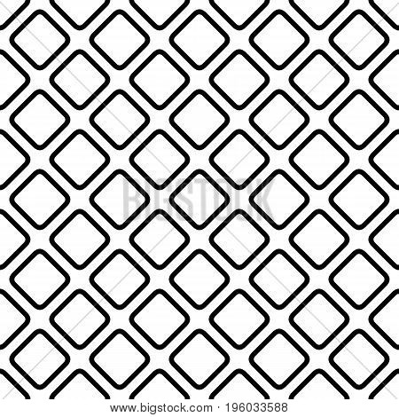 Abstract geometric monochrome repeating square pattern background - simple halftone vector graphic from diagonal rounded squares