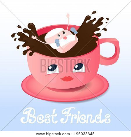 Funny marshmallow falls into a coffee. Best friends hand lettering. Greeting card for Friendship Day