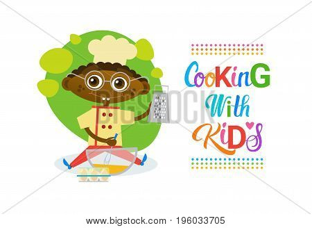Cooking With Kids Children Culinary Classes Hobby Development Vector Illustration