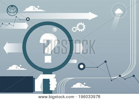 Business Man Hand Hold Magnifying Glass With Question Mark Concept Flat Vector Illustration