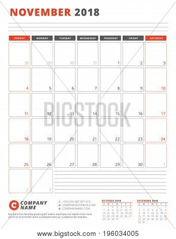 Calendar Template For 2018 Year. November. Business Planner 2018 Template. Stationery Design. Week S