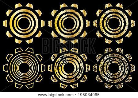 Icon gearwheel , Vector golden gears icons set