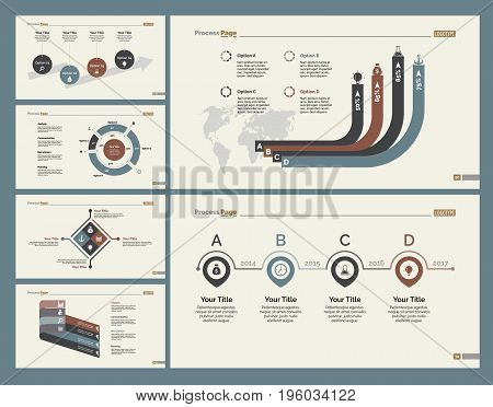 Infographic design set can be used for workflow layout, diagram, annual report, presentation, web design. Business and finance concept with process, doughnut and percentage charts.