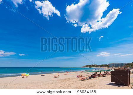 Coastline Costa Dorada, Beach In La Pineda, Tarragona, Catalunya, Spain. Copy Space For Text.