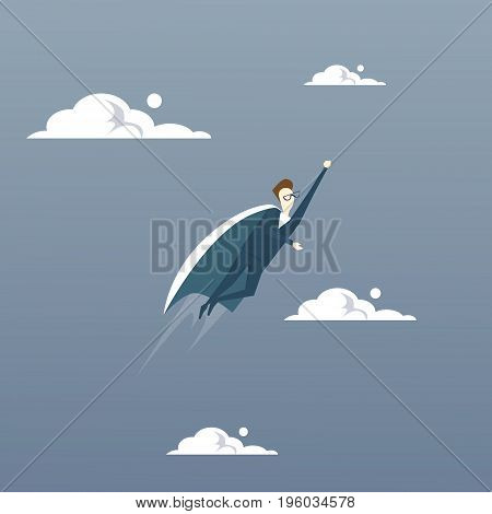 Businessman Fly Wear Hero Cape Success Concept Flat Vector Illustration