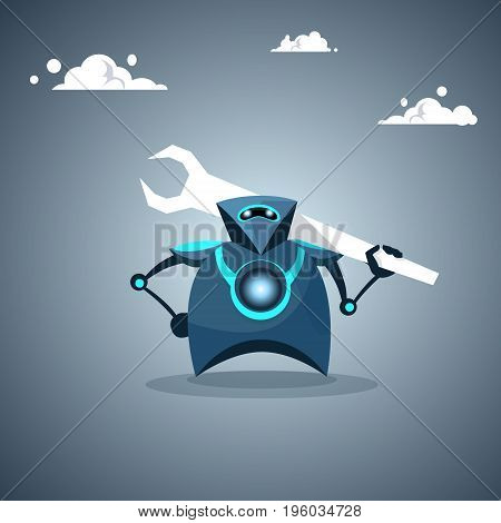 Modern Robot Holding Wrench Artificial Intelligence Futuristic Mechanism Technology Vector Illustration