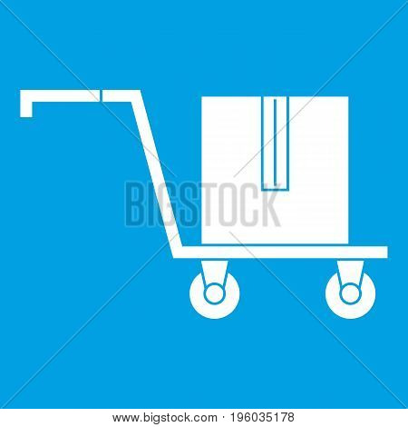 Delivery cart with box icon white isolated on blue background vector illustration