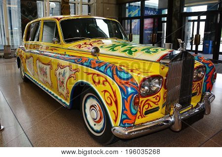 Victoria BC,Canada,February 16th 2016.Psychedelic Rolls Royce once owned by John Lennon on display in Victoria BC,at the Royal BC Museum.