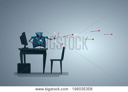 Modern Robot Protecting Computer Database From Attack Artificial Intelligence Data Security Technology Vector Illustration
