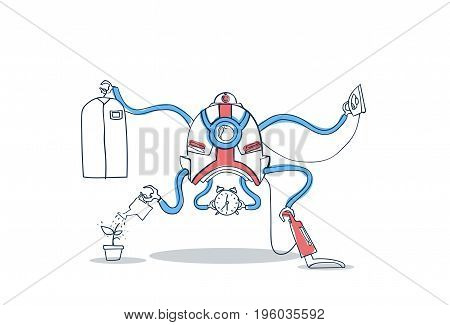 Modern Robot Housekeeping Technology Artificial Intelligence Cleaning Mechanism Vector Illustration