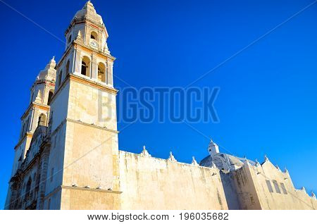 View of historic cathedral Our Lady of the Immaculate Conception in Campeche Mexico