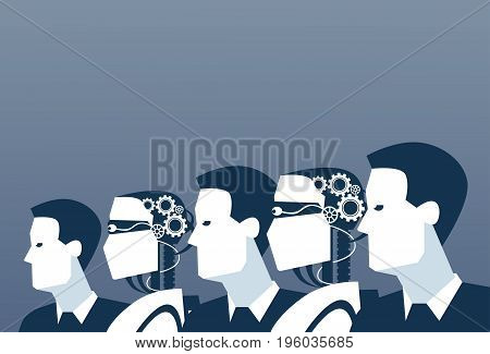 People And Robots Modern Human And Artificial Intelligence Futuristic Mechanism Technology Vector Illustration
