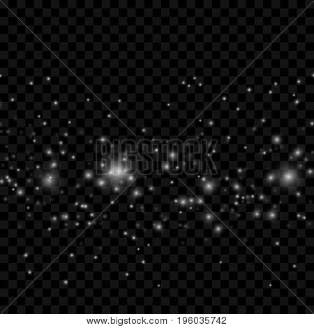 Magical abstract star dust lens flare transparent background. Fairy dust futuristic space fantasy layout. Vector illustration