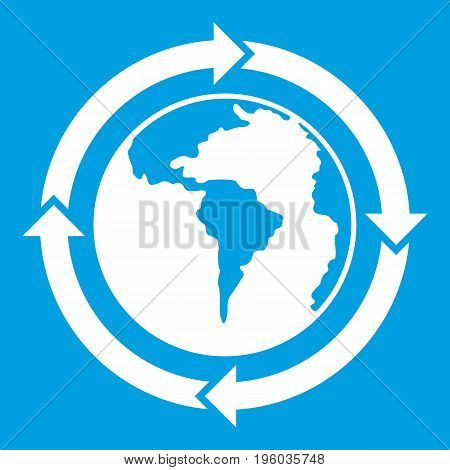 Round arrows around world planet icon white isolated on blue background vector illustration