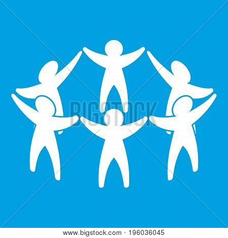 Team or friends icon white isolated on blue background vector illustration