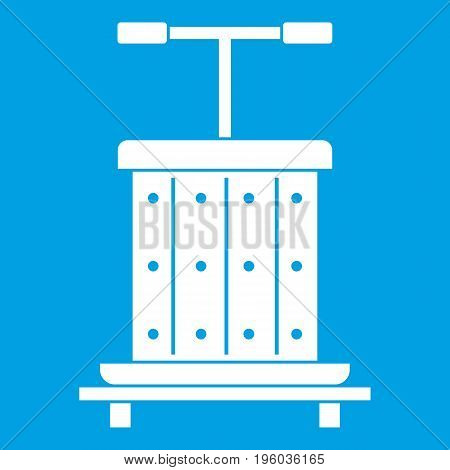 Traditional wooden press for grapes icon white isolated on blue background vector illustration