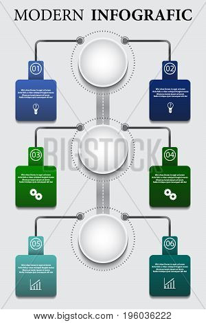 Vector business template for presentation. Process chart. Abstract elements of graph diagram with steps options parts or processes. Concept for infographic. Business data visualization.