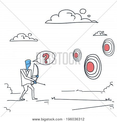 Business Man Choosing Target To Aim With Bow Businessman Making Decision Concept Doodle Vector Illustration