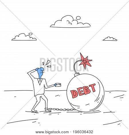 Business Man Chain Bound Legs Credit Debt Finance Crisis Concept Doodle Vector Illustration