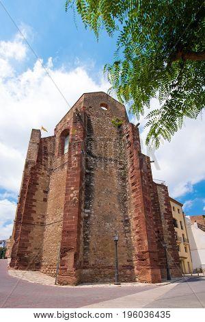 The Ancient Building In Mont-roig Del Camp, Tarragona, Catalunya, Spain. Vertical.