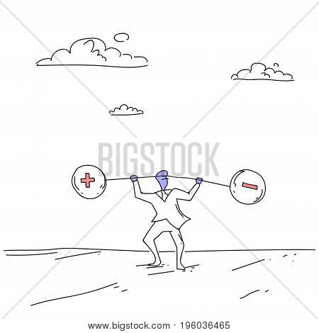 Business Man Holding Weights Balance Scales With Plus and Minus Sign Debt Loan Crisis Concept Doodle Vector Illustration