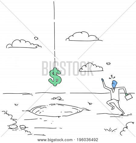 Scared Business Man With Dollar Sign Falling In Hole Credit Debt Finance Crisis Concept Doodle Vector Illustration