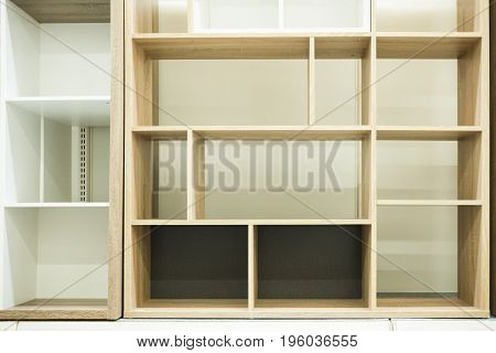 Various of shelves background for greeting objects. Interior design