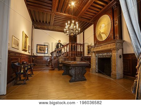 VIENNA/ AUSTRIA - JULY 7, 2017. Interior of the House of Music with a wax sculpture of Otto Nicolai - the founder of the Vienna Philharmonic .
