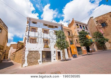 View Of The Buildings Of The Old City, Mont-roig Del Camp, Tarragona, Catalunya, Spain. Copy Space F