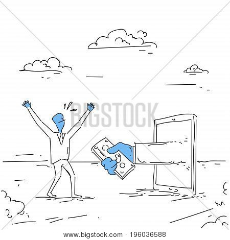 Business Man Getting Money From Digital Tablet Crowdfunding Investment Concept Doodle Vector Illustration