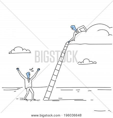 Businessman On Cloud Hold Ladder Stairs To Climb Up Team Cooperation Concept Doodle Vector Illustration