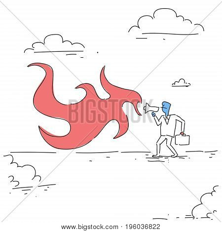 Angry Boss Business Man Screaming In Megaphone Annoyed Businessman Doodle Vector Illustration