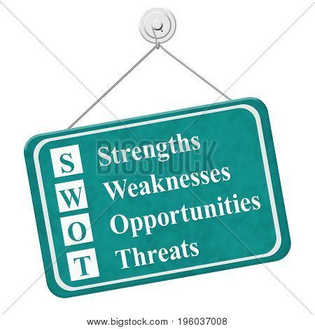 SWOT sign A teal hanging sign with text SWOT Strengths Weaknesses Opportunities Threats isolated over white 3D Illustration