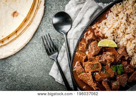 Chile Colorado Beef With Rice