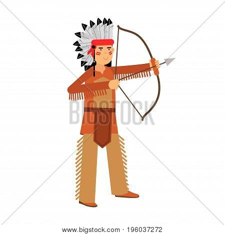Native american indian in traditional costume and headgear archery with a bow vector Illustration isolated on a white background
