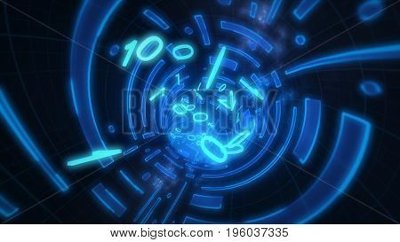 Data Tunnel Journey. 3D Illustration Shot Inside Fibre Optic Cable.
